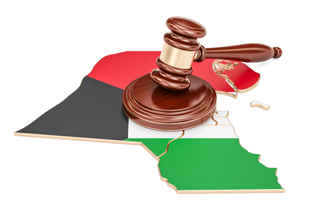 Wooden Gavel on map of Kuwait, 3D rendering isolated on white background