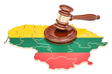Wooden Gavel on map of Lithuania, 3D rendering isolated on white background