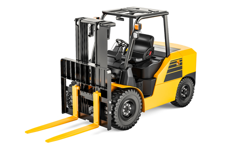 Forklift Truck, 3D rendering isolated on white background
