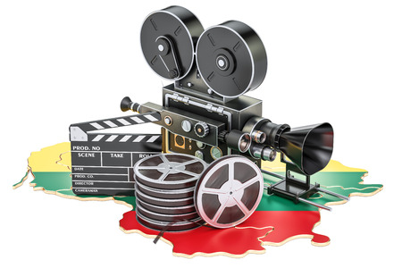 Lithuanian cinematography, film industry concept. 3D rendering isolated on white background