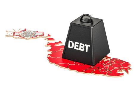Malta national debt or budget deficit, financial crisis concept, 3D rendering
