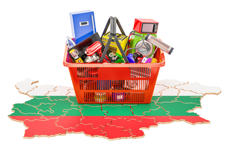 Map of Bulgaria with shopping basket full of home and kitchen appliances, 3D rendering Stock Photo