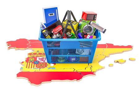 Map of Spain with shopping basket full of home and kitchen appliances, 3D rendering Stock Photo