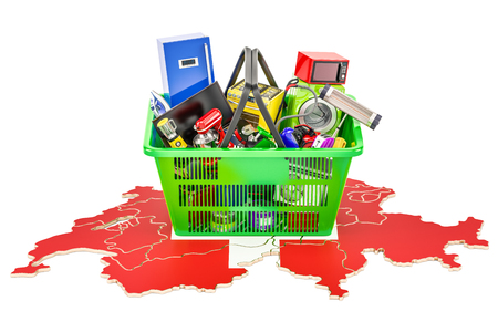 Map of Switzerland with shopping basket full of home and kitchen appliances, 3D rendering