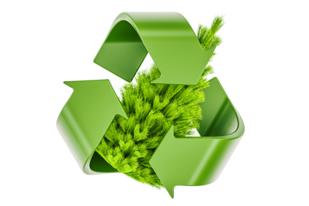 Recycle symbol with Christmas Tree. Recycle Christmas Tree concept, 3D rendering  写真素材