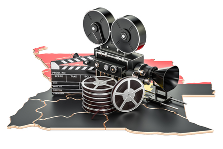 Angolan cinematography, film industry concept. 3D rendering isolated on white background