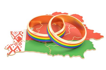 Belarus map with LGBT rainbow rings, 3D rendering