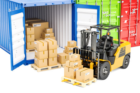 Cargo shipping concept, 3D rendering isolated on white background Stock Photo