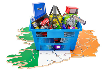 Map of Ireland with shopping basket full of home and kitchen appliances, 3D rendering Stock Photo