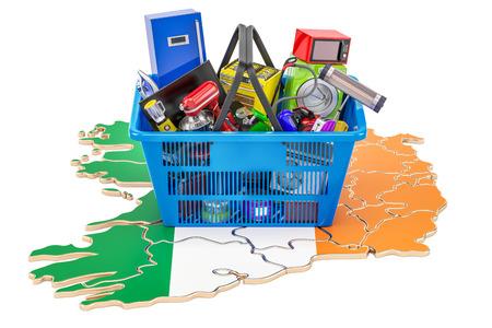 Mapa de Irlanda con la cesta de la compra llena de electrodomésticos y aplicaciones de cocina, 3D Foto de archivo