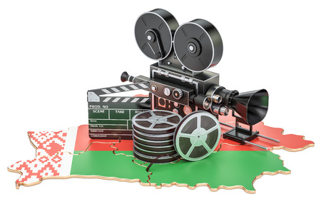 Belarusian cinematography, film industry concept. 3D rendering isolated on white background Stock Photo