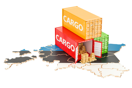 Cargo Shipping and Delivery from Estonia isolated on white background Stock Photo