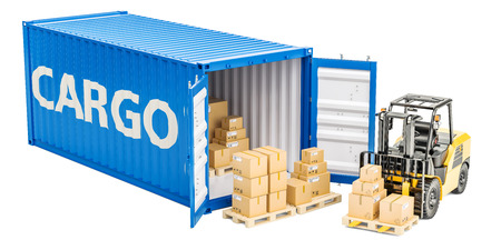 Cargo shipping concept, forklift truck and cargo container with parcels. 3D rendering Stock Photo