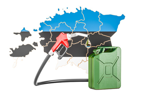 Production and trade of petrol in Estonia, concept. 3D rendering isolated on white background Stock Photo