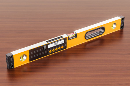 Digital Spirit Level on the wooden table. 3D rendering