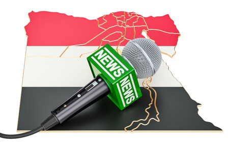 Egyptian News concept, microphone news on the map. 3D rendering Stock Photo