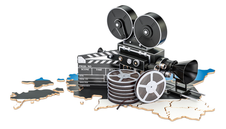 Estonian cinematography, film industry concept. 3D rendering isolated on white background Stock Photo