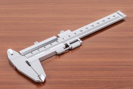 Vernier caliper on the wooden table. 3D rendering