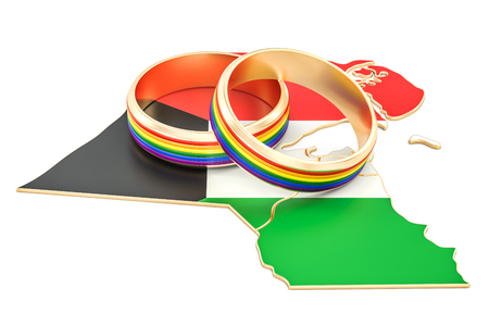 Kuwait map with LGBT rainbow rings, 3D rendering