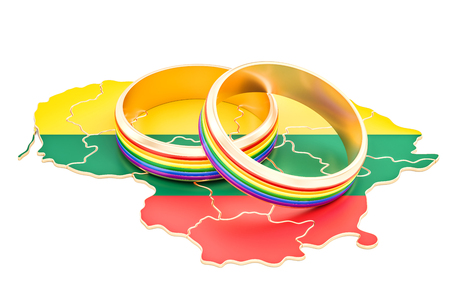 Lithuanian map with LGBT rainbow rings, 3D rendering Stock Photo