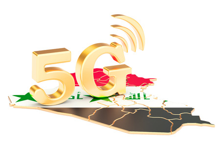 5G in Iraq concept, 3D rendering isolated on white background Stock Photo