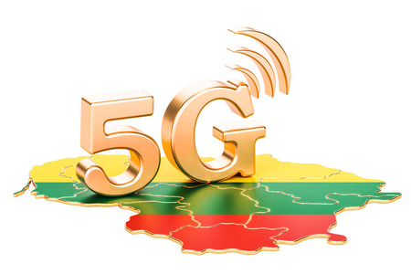 5G in Lithuania concept, 3D rendering isolated on white background