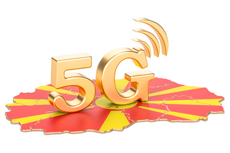 5G in Macedonia concept, 3D rendering isolated on white background
