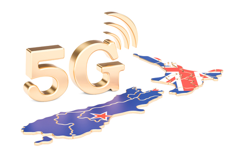 5G in New Zealand concept, 3D rendering isolated on white background Stock Photo