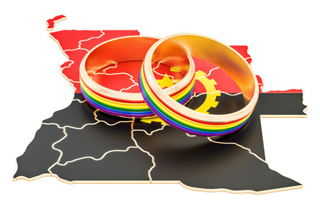 Angolan map with LGBT rainbow rings, 3D rendering Stock Photo