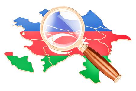 Azerbaijan under magnifying glass, analysis concept, 3D rendering isolated on white background Stock Photo