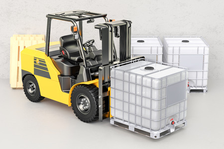 Forklift truck with white intermediate bulk container, 3D rendering Stok Fotoğraf