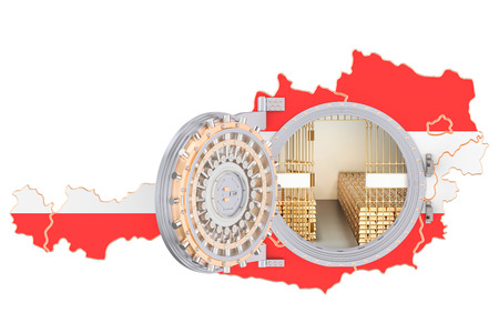 Golden reserves of Austria concept, banking vault with gold bars. 3D rendering isolated on white background