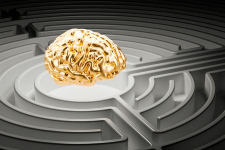Human brain at the center of a maze. 3D rendering Stock Photo