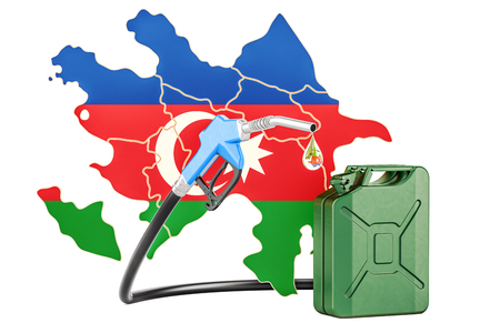 Production and trade of petrol in Azerbaijan, concept. 3D rendering isolated on white background