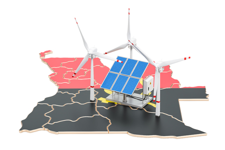 Renewable energy and sustainable development in Angola, concept. 3D rendering isolated on white background