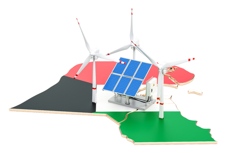 Renewable energy and sustainable development in Kuwait, concept. 3D rendering isolated on white background Stock Photo
