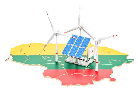 Hernieuwbare energie en duurzame ontwikkeling in Litouwen, concept. 3D-rendering op een witte achtergrond