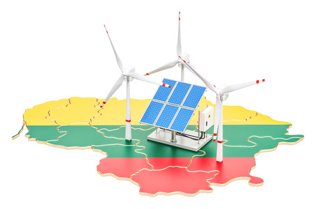 Renewable energy and sustainable development in Lithuania, concept. 3D rendering isolated on white background