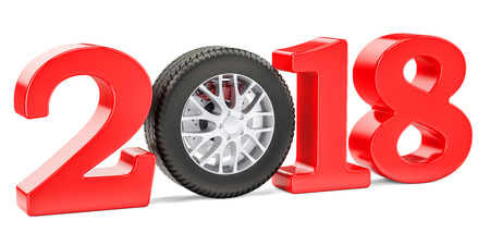 2018 auto concept with car wheel, 3D rendering isolated on white background