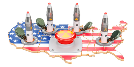 American nuclear button concept. USA missile launches from its underground silo launch facility, 3D rendering