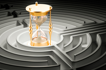 Hourglass inside labyrinth maze, 3D rendering