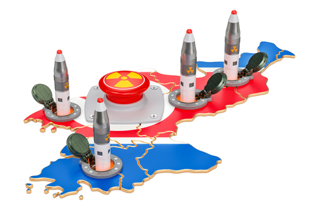 North Korean nuclear button concept. Korean missile launches from its underground silo launch facility, 3D rendering Imagens