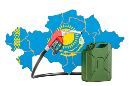 Production and trade of petrol in Kazakhstan, concept. 3D rendering isolated on white background Standard-Bild