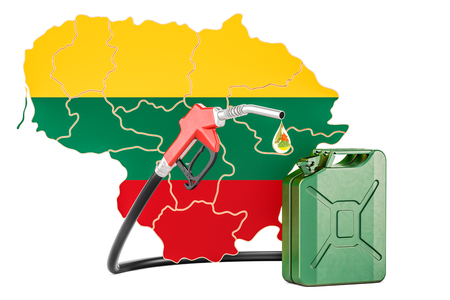 Production and trade of petrol in Lithuania, concept. 3D rendering isolated on white background