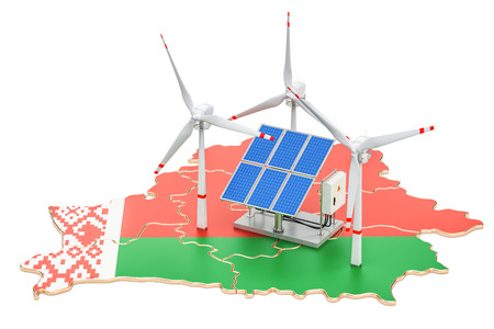 Renewable energy and sustainable development in Belarus, concept. 3D rendering isolated on white background