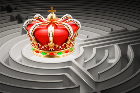 Royal crown inside labyrinth maze, 3D rendering