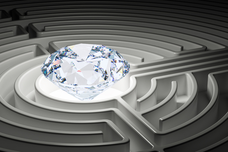 Diamond inside labyrinth maze. 3D rendering