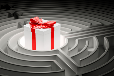 Gift box inside labyrinth maze. 3D rendering