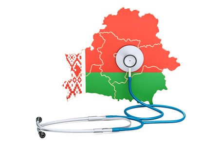 Belarusian map with stethoscope, national health care concept, 3D rendering