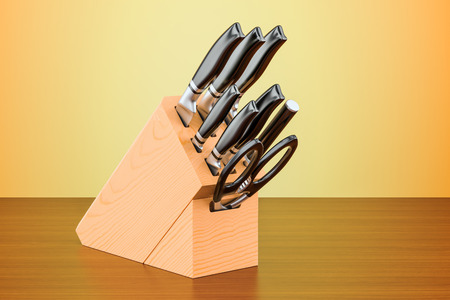 Kitchen knives with wooden block on the table. 3D rendering Stock Photo